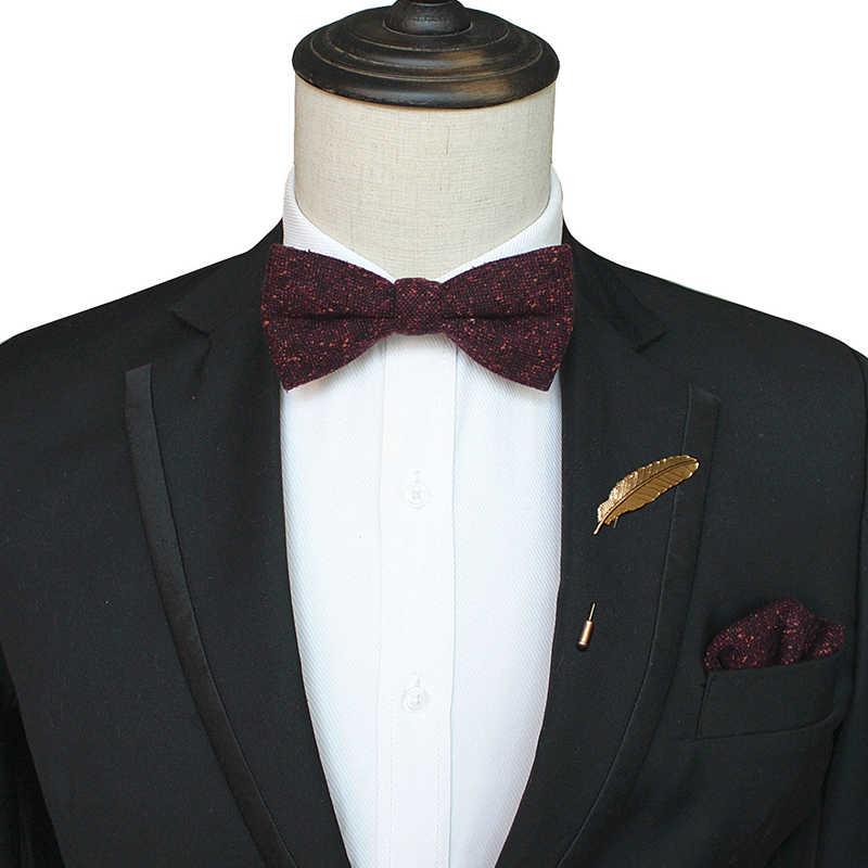 JEMYGINS moda w stylu Vintage wełna łuk krawaty dla mężczyzn krawaty kaszmirowy własna muszka kieszonkowy plac i pin zestaw na wesele pokaż krawat