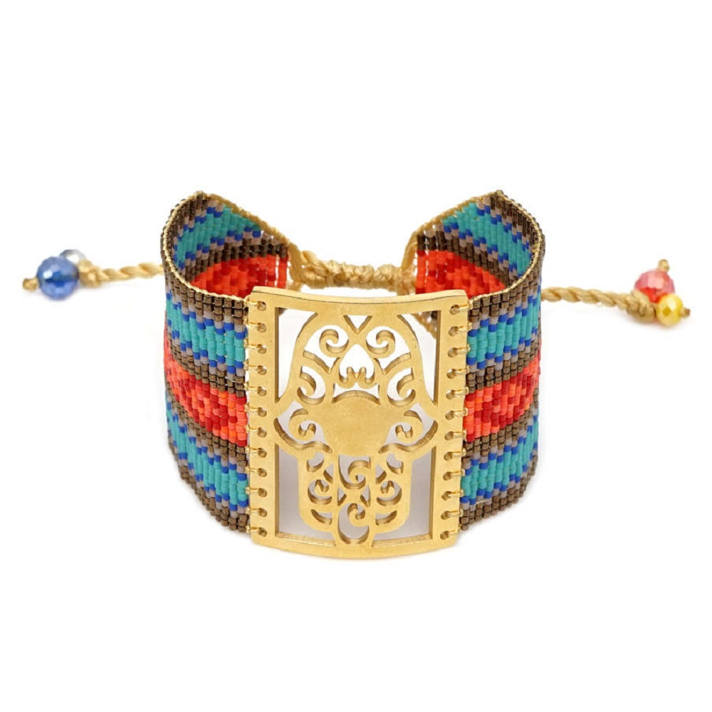 Go2boho MIYUKI Fatima Hamsa Hand Bracelets Pulseira Mujer 2019 Bracelet Women Bohemian Summer Beach Boho Jewelry Handmade Loom