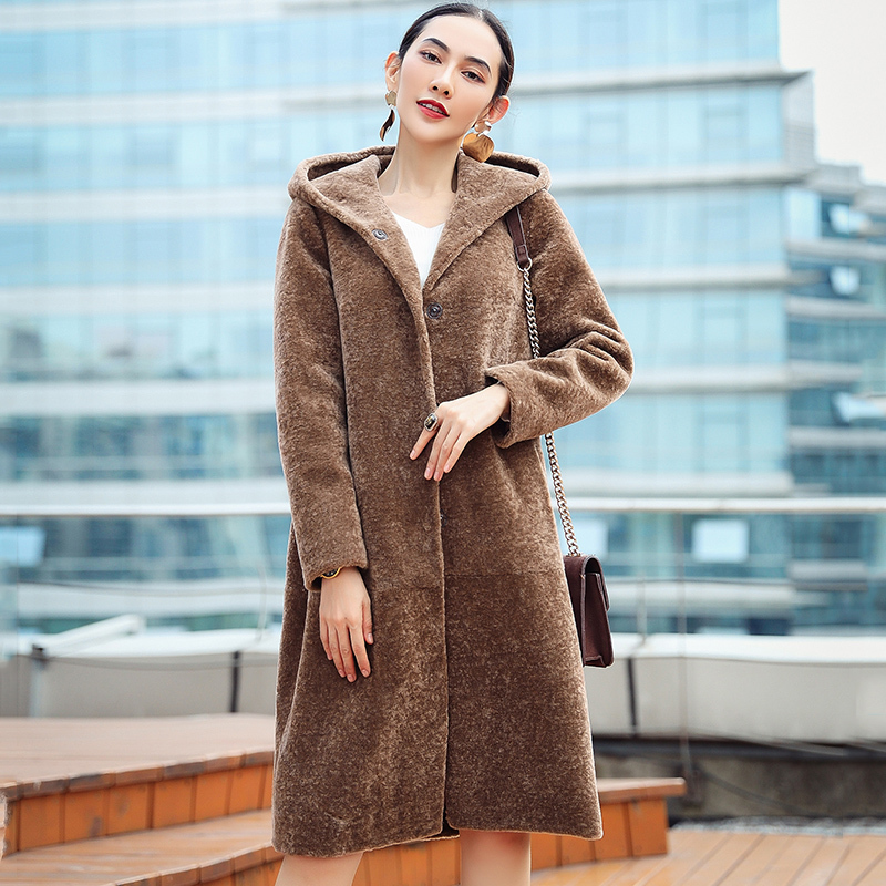 Casual 2020 Sheep Shearling Jackets Real Wool Women's Fur Coat Long Winter Jacket Women Hooded Plus Size 5XL 6XL OT1788