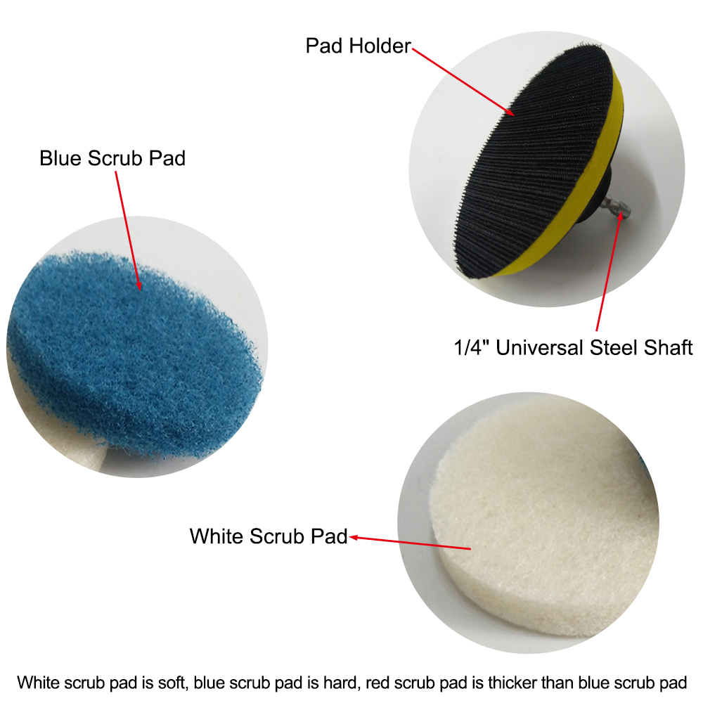 Fine-quality Power Scrub Pad Cleaning Kit Includes Extra Scrub Pads For Bathroom Kitchen Cleaning