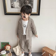 Little Boys Spring Fall Plaid Suits New Baby Kids Suit Cloth