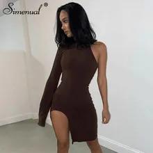 Mini Dress Clubwear Side-Slit Long-Sleeve Simenual Sexy Women Bodycon One-Shoulder Fashion