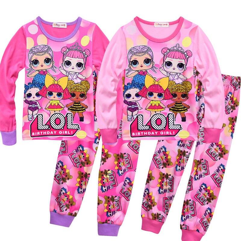 Baby Girls Pajama Set Cartoon Doll Children's LOl Home Service Two-piece Unicorn Baby Girls Pajamas Set Kids Christmas Pajamas