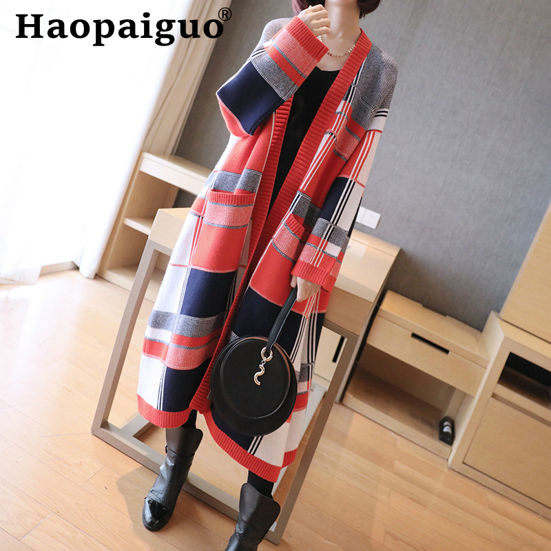 Print Plaid Thick Warm Cotton Autumn Sweater Women Open Stitch Loose Red Knitted Cardigan Sweater Coat Women Solid Jacket Winter