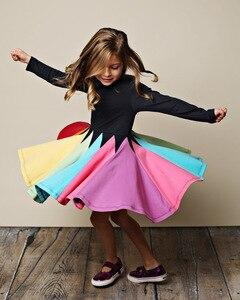 2020 Girls Dress Long Sleeve Mixed Colors Rainbow Princess Dresses Kids Children Party Birthday Vestidos Clothes