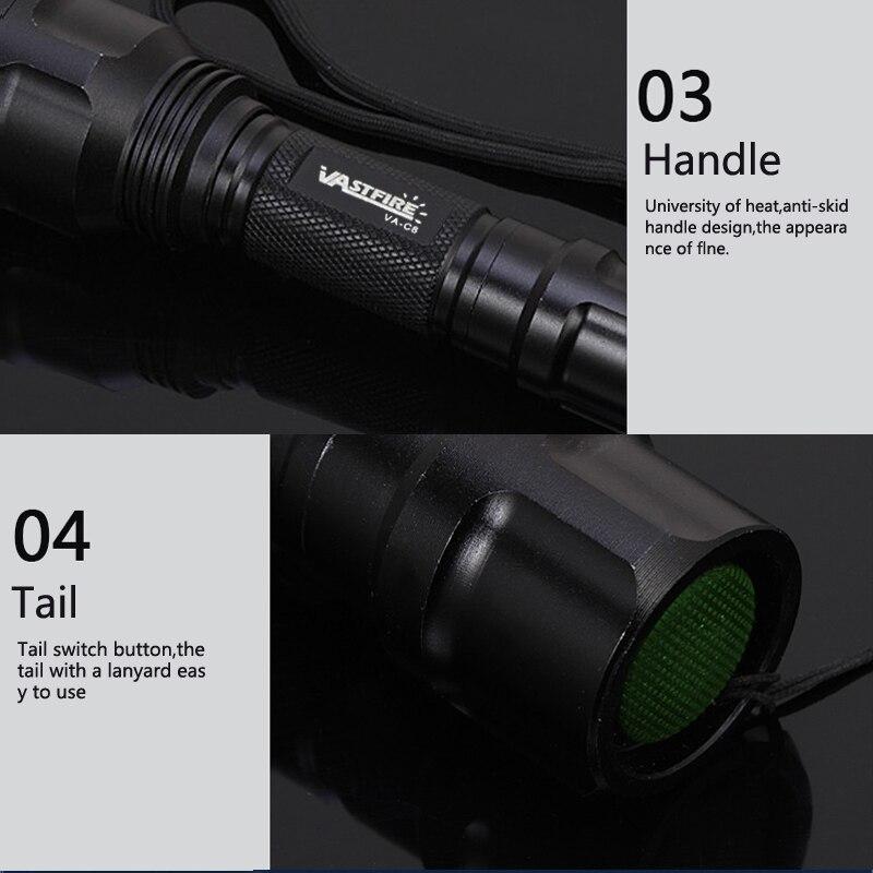 C8 טקטי ציד פנס XML T6 LED Airsoft נשק אור רובה היקף לפיד סקאוט אקדח מנורת מרחוק מתג 18650 USB מטען