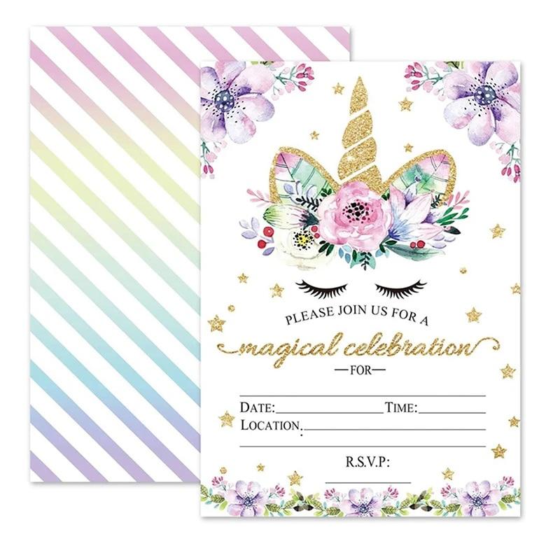 50pcs unicorn party invitation card birthday party decorations kids girls unicorn birthday favors invitation cards