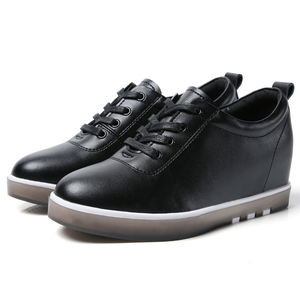 Image 5 - Gizlemek topuk hakiki deri ayakkabı kadın moda ayakkabı yeni dantel Up yüksekliği artan rahat ayakkabılar beyaz ayakkabı XU161