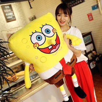 20-90cm New baby soft plush animal Sponge Bob plush toy baby pillow animal cartoon doll cotton cushion Christmas children's gift loveyle super soft whale plush toy cartoon animal fish stuffed doll baby sleeping pillow cushion kid girlfriend christmas gift