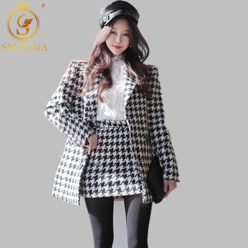 Women Single Breasted Pockets Plaid Short Jacket Coat + Mini Skirt Set 2019 Autumn Winter Woman Tweed Wool Suit Clothes