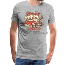 Camiseta de hombre Vintage póster tarjeta retro Coche viejo micrófono imagen-Camiseta Premium para hombre mujeres camiseta camisetas top