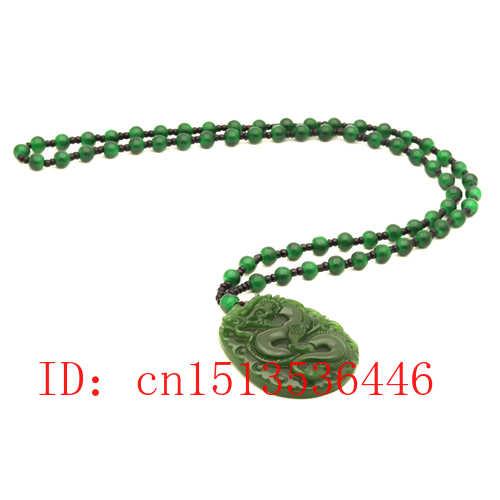 Ukiran Naga Liontin Giok Cina Alami Hijau Manik-manik Kalung Pesona Jaguar Perhiasan Fashion Lucky Amulet Hadiah untuk Pria M04