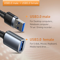 Baseus USB Extension Cable USB 3.0 Cable Male to Female Extender Cable for PC Smart TV PS4 Xbox Data Cable USB 3.0 Data Line