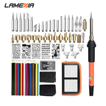 LAMEZIA 71pcs/set 60W Electric Pyrography Soldering Iron Suit Carving Hot Printed Pattern