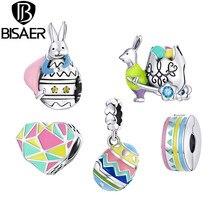 Bisaer – breloques de pâques en argent Sterling 925, bijoux fins originaux, animaux mignons colorés, DIY bricolage