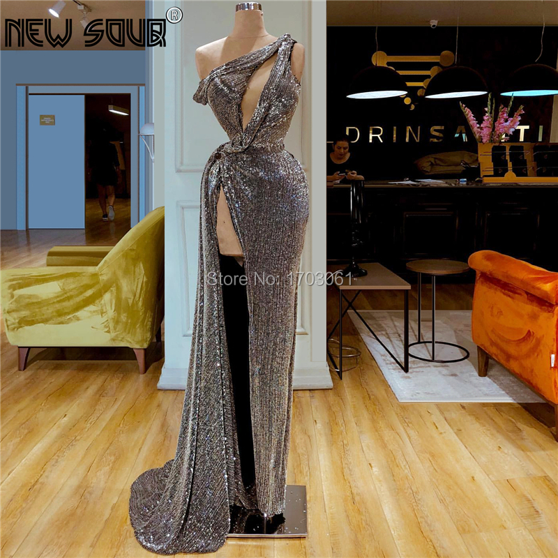 Sequins Evening Dresses For Weddings Sexy High Split Side Middle East Prom Dress Celebrity Party Gowns 2019 Robe De Soiree Aibye