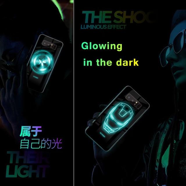 Marvel Avengers Luminous szkło etui na telefony do Samsung Galaxy S10E S10 5G S9 S8 Plus uwaga 10 9 8 10plus Superhero Spiderman okładka