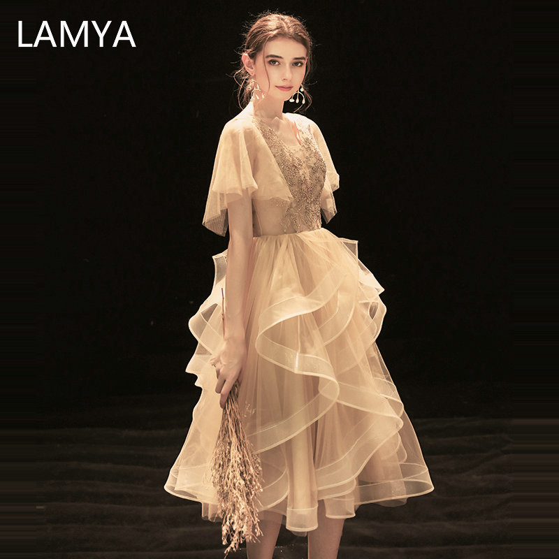 LAMYA Elegant Champagne Asymmetrical Prom Dresses V Neck Lace With Beads Evening Dress Princess Tulle Special Occasion Dress