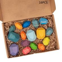 16 шт Детские деревянные цветные камни укладка игры строительный