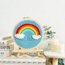 20 * 20cm Embroidery Rainbow Handwork Needlework For Kids Beginner Cross