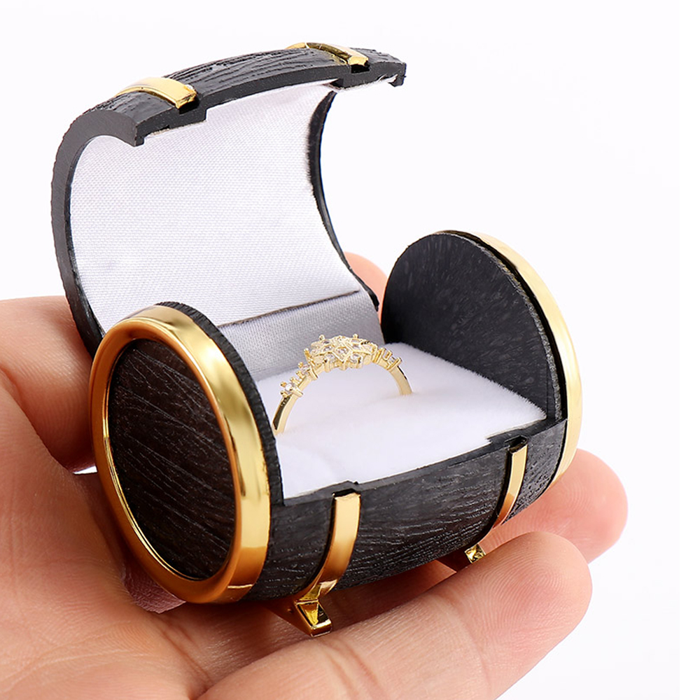 1PCS New Novelty Europe Beer Barrel Velvet Ring Earring Jewelry Packaging & Display Case Gift