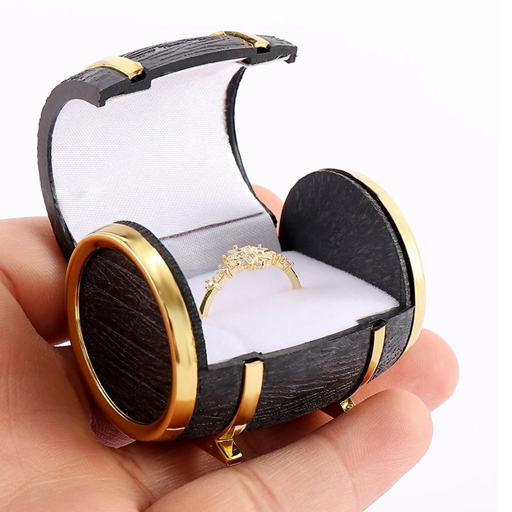 1PCS New Novelty Europe Beer Barrel Velvet Ring Earring Jewelry Packaging & Display Case Gift