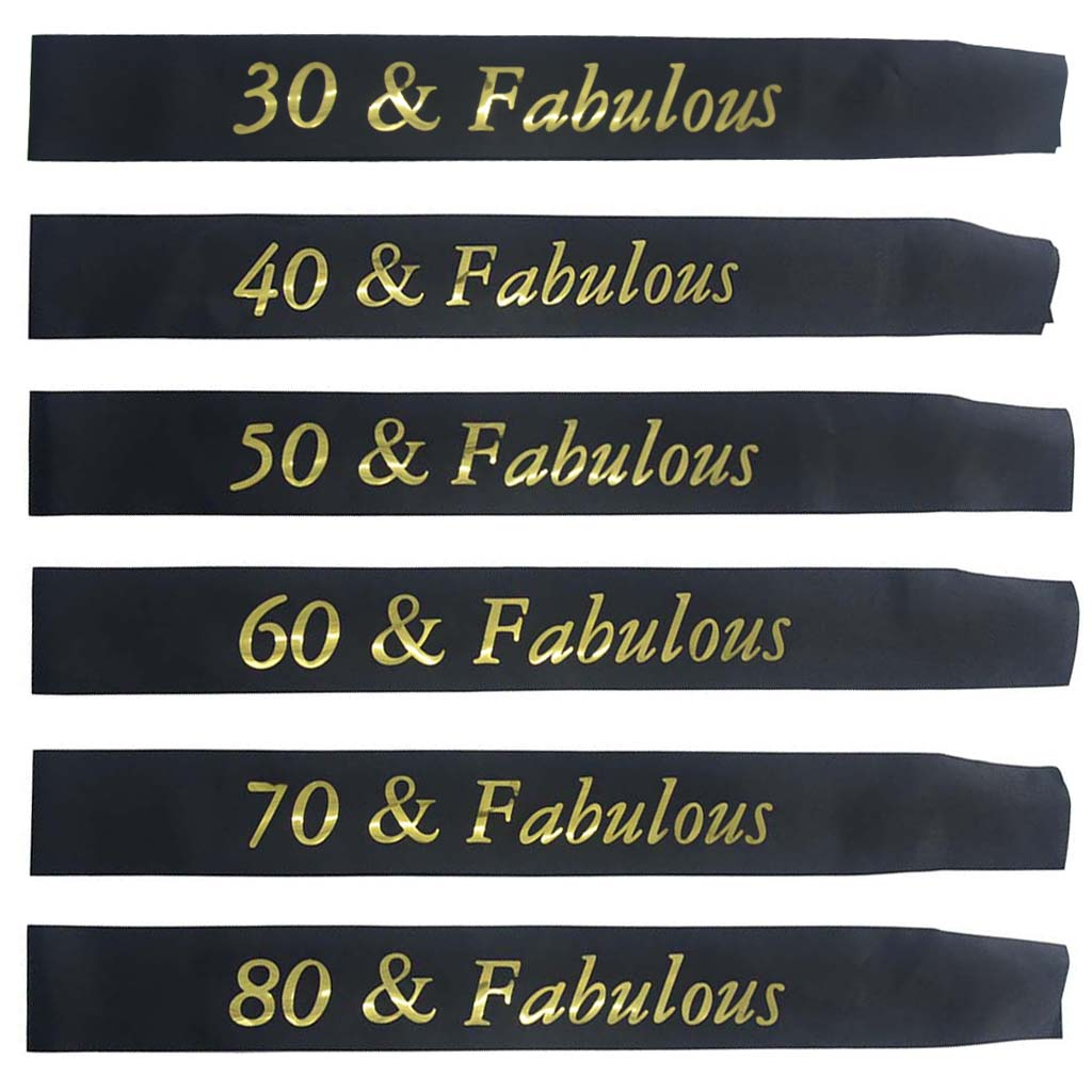 Gold Glitter <font><b>Birthday</b></font> Sash 30 40 50 60 70 80 & Fabulous Satin Sash for 30th 40th 50th 60th <font><b>70th</b></font> 80th <font><b>Birthday</b></font> Party Supplies image
