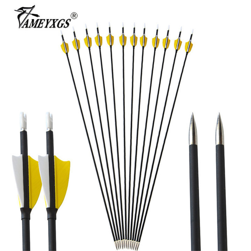 AMEYXGS 6//12pcs Archery Mixed Carbon Arrows 450 Spine With Real Natural Feather Arrows For Compound and Recurve Bows