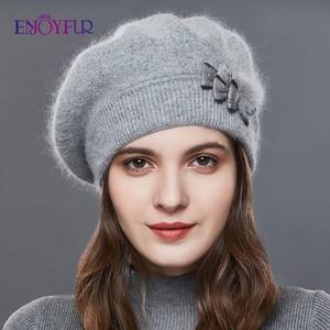 Image 2 - ENJOYFUR Kaşmir Bere Şapka Kadın Tavşan örme kışlık şapkalar Caps Lady Orta Yaşlı Kap Moda Yay Düğüm Topu Gorro Sıcak Şapka