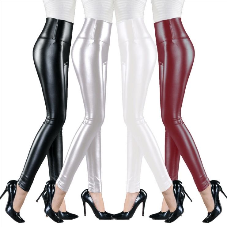 Womens PU Leather Pants High Elastic Waist Leggings Not Crack Slim Leather Leggings Fleece Trousers Women Fashion F80 8