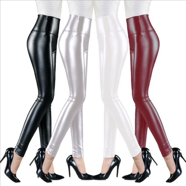 Womens PU Leather Pants High Elastic Waist Leggings Not Crack Slim Leather Leggings Fleece Trousers Women Fashion F80 39