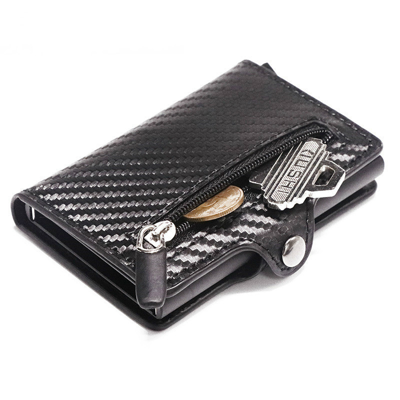 2020 Purse RFID Metal Card Holder Button Coin Wallet Protection Fashion Carbon Fiber Wallet Men Slim Wallet Anti-theft Card Case