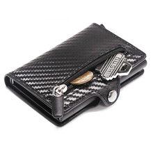 2021 bolsa rfid metal cartão titular botão moeda carteira proteção moda fibra de carbono carteira masculina fino carteira anti-roubo cartão caso