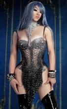 Yeni Sparkly siyah püskül Rhinestones Glisten boncuk Bodysuit Bar Dj şarkıcı dansçı tek parça kıyafet kostüm seksi sahne tulum