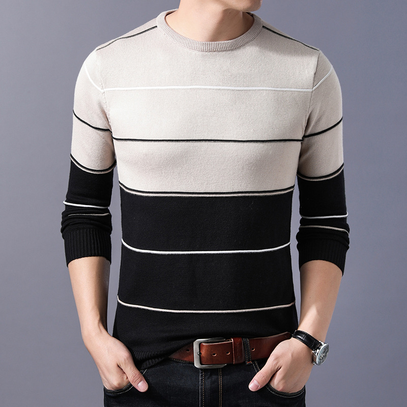 LUX ANGNER Fashion Brand Sweater Men Pullover Striped Slim Fit Jumpers Knitted Sweaters Men Long Sleeve Korean Casual Clothing