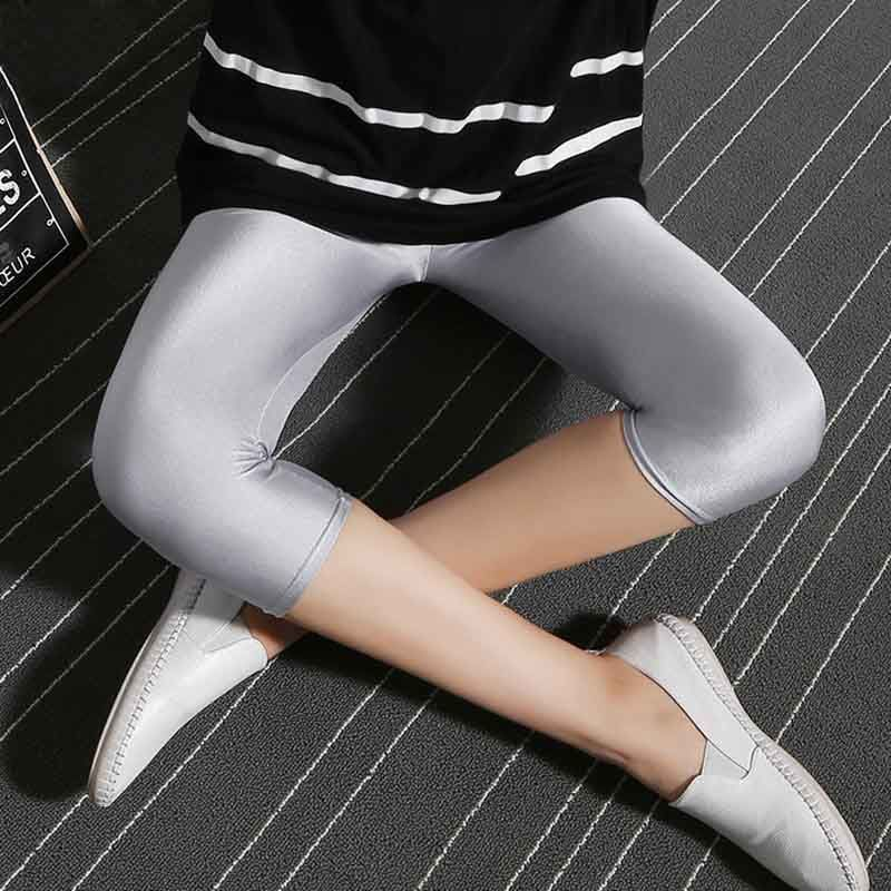 CHSDCSI Women Pant For Girl Spandex Shiny Solid Color Fluorescent Leggings Women Casual Elastic High Quality Large Size Trousers