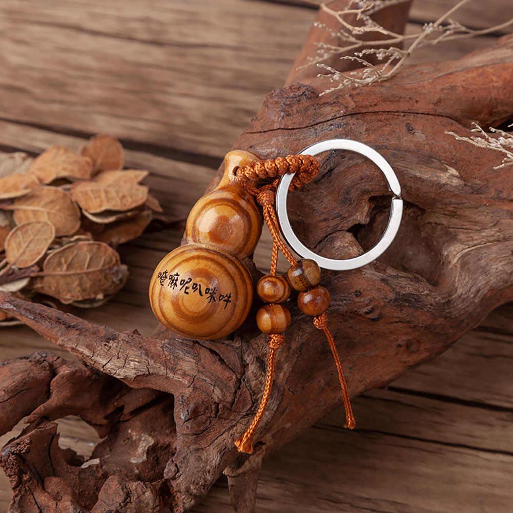 Segnen Worten Pfirsich Holz Kürbis Anhänger Schlüssel Kette Ring Halter Auto Ornament Dekor
