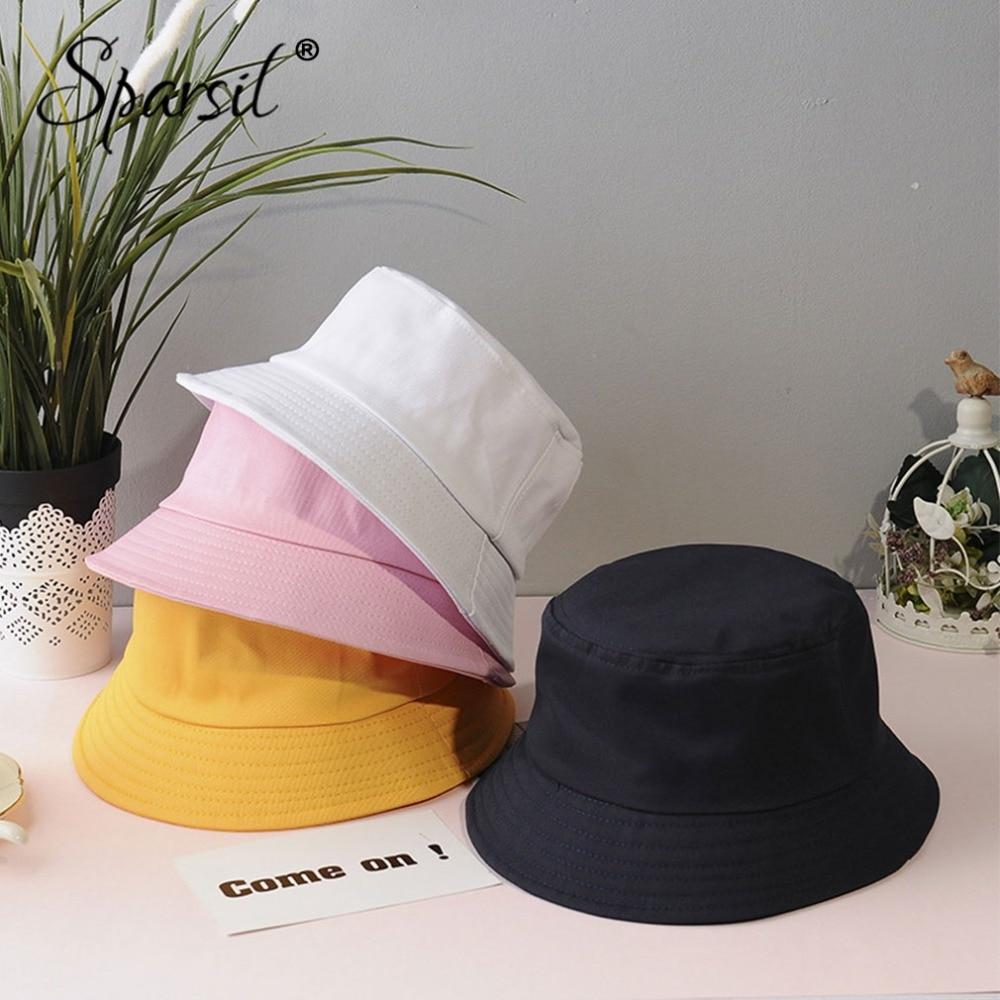 Sparsil Unisex Summer Foldable Bucket Hat Women Outdoor Sunscreen Cotton Fishing Hunting Cap Men Basin Chapeau Sun Prevent Hats