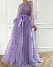Светильник лое фиолетовое вечернее платье из тюля с бисером