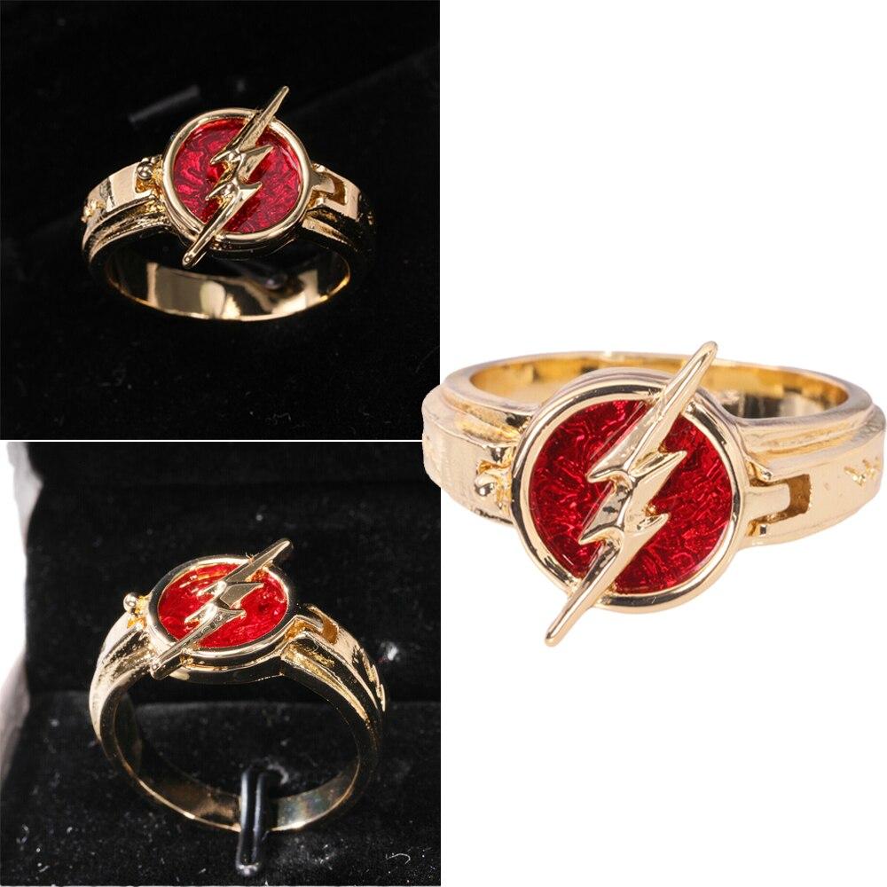 Coslive The Flash temporada 5 nuevo Flash anillo joyería oro con rojo anillo de regalo de Navidad accesorios Cosplay Accesorios