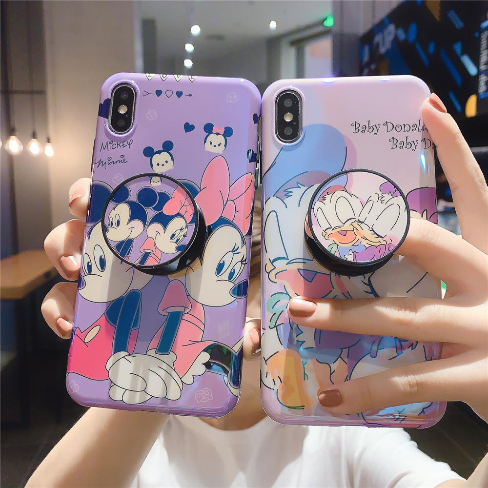 Funny Cute Lovely Girly Cartoon Mouse Phone Case For iPhone X 8 7 6 6s Plus XS 11 Pro Max XR i7P i8P Holder Stand Cover Fundas-in Fitted Cases from Cellphones & Telecommunications