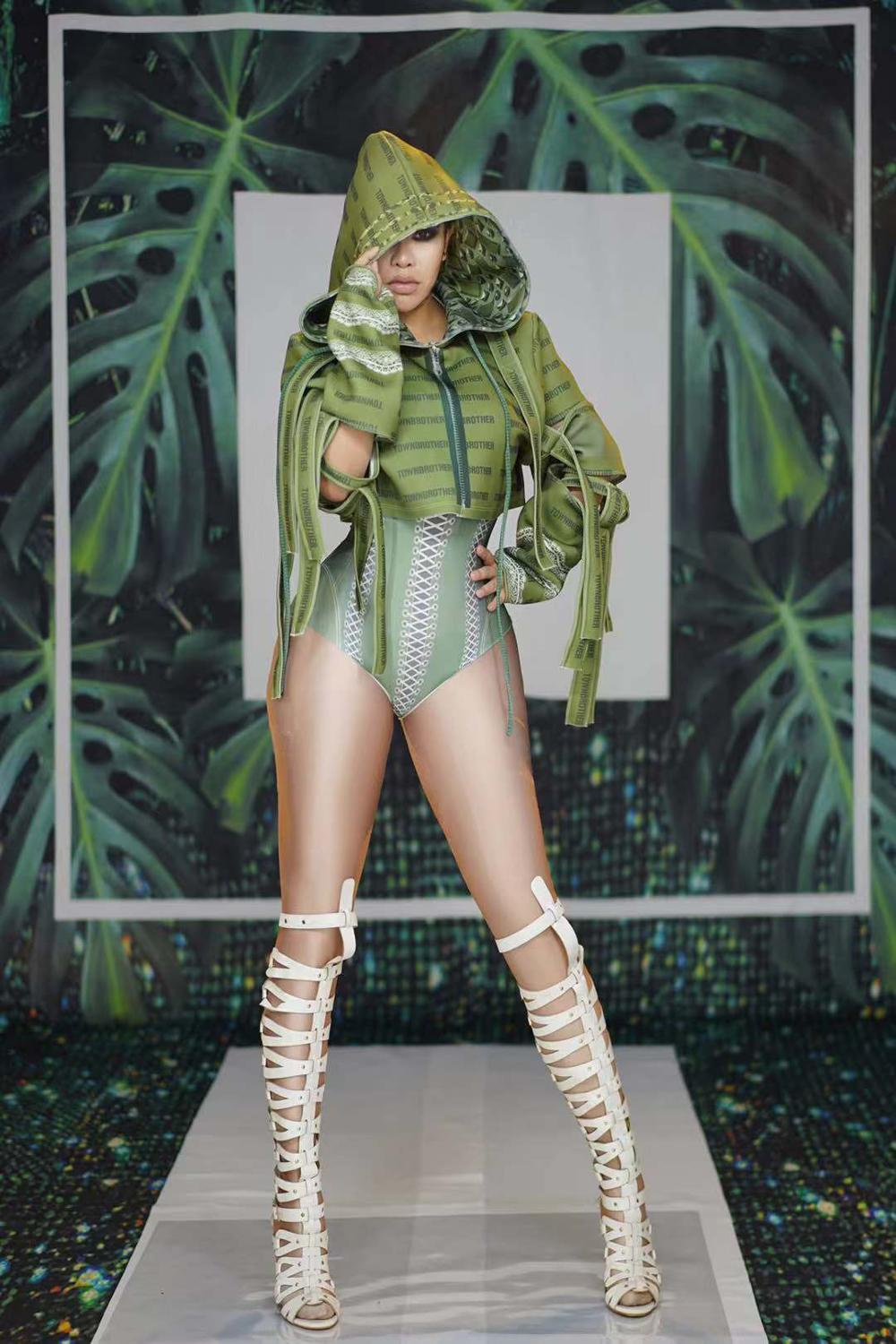 Club Party Women <font><b>Cosplay</b></font> Costume <font><b>Army</b></font> Green Bodysuit Tops 2-Pieces Set <font><b>Sexy</b></font> DJ Jazz Hip Hop Dance Outfit Role Performance Wears image