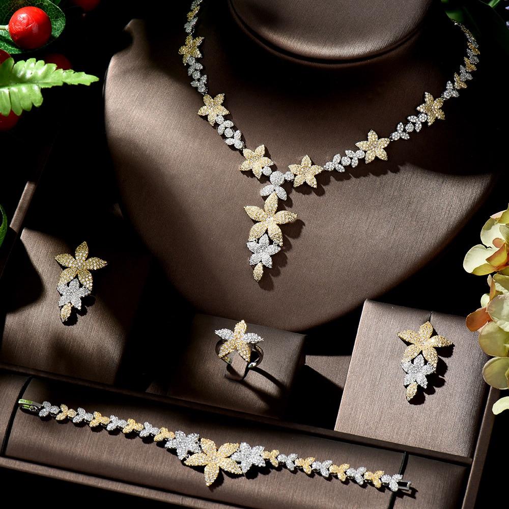 HIBRIDE Dubai Gold Jewelry Sets for Women Earrings and Necklace Set Leaf Design Wedding Accessories Bride ensemble bijoux N-903