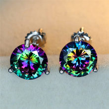 Mystic Rainbow Api Topaz Stud Anting-Anting untuk Wanita 100% Real 925 Sterling Silver 6 Mm Round Multicolor Batu Permata Anting-Anting Baik hadiah(China)