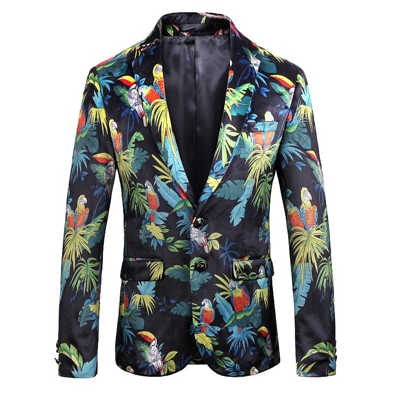 Пиджак на одной пуговице куртка вечерние сценический для певца Фирменная Новинка мужские костюмы мужские куртки Hombre De Vestir цветочный Мужско...