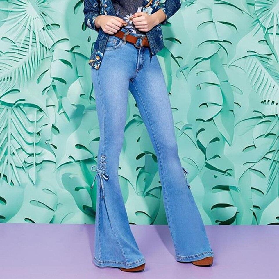 2019 винтажные расклешенные джинсы средней длины с талией, женские джинсы с расклешенным низом, женские джинсы для осени и зимы размера плюс, ...
