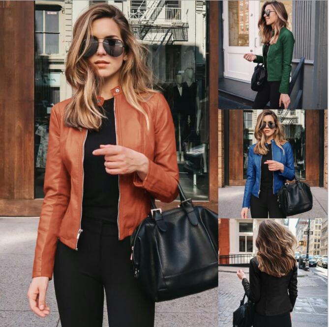 Pu Leather Jacket Spring Autumn Women Fashion Motorcycle Coat Casual Soft Faux Leather Jacket Female Streetwear Biker Jacket