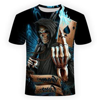 2018 NEW 3d skull poker funny t shirts Men HOT Brand Mens Casual 3D Printed T shirt Clothes tshirt summer top Asian size