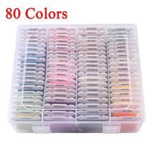 1 caixa de 80 cor bordado fio diy algodão multi-cor bordado fio para costura bordado conjunto de linha com caixa organizador costurar