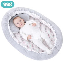 AAG Portable Baby Bed Crib With Pillow Babynest Cradle Child Infant Travel Bed Newborn Sleeping Support Pad Bumper Baby Nest Cot